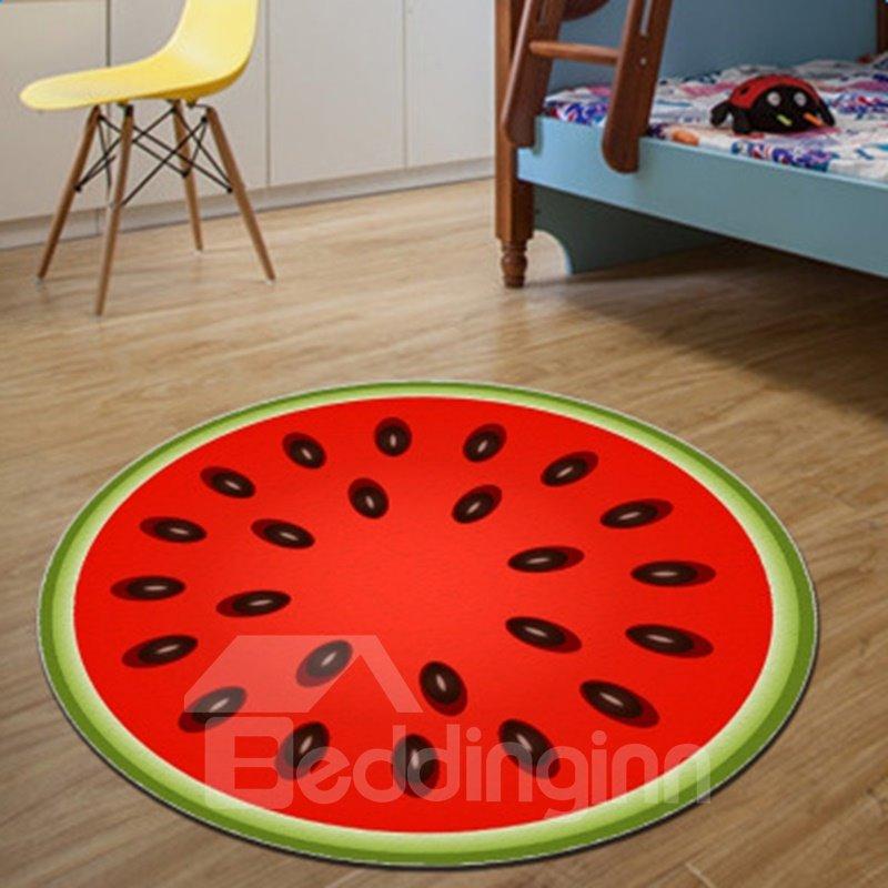 Fancy Modern Design Round Red Watermelon Pattern Washable Decorative Area Rug