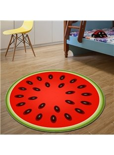 Fancy Modern Design Round Red Watermelon Pattern Washable Decorative Area Rug