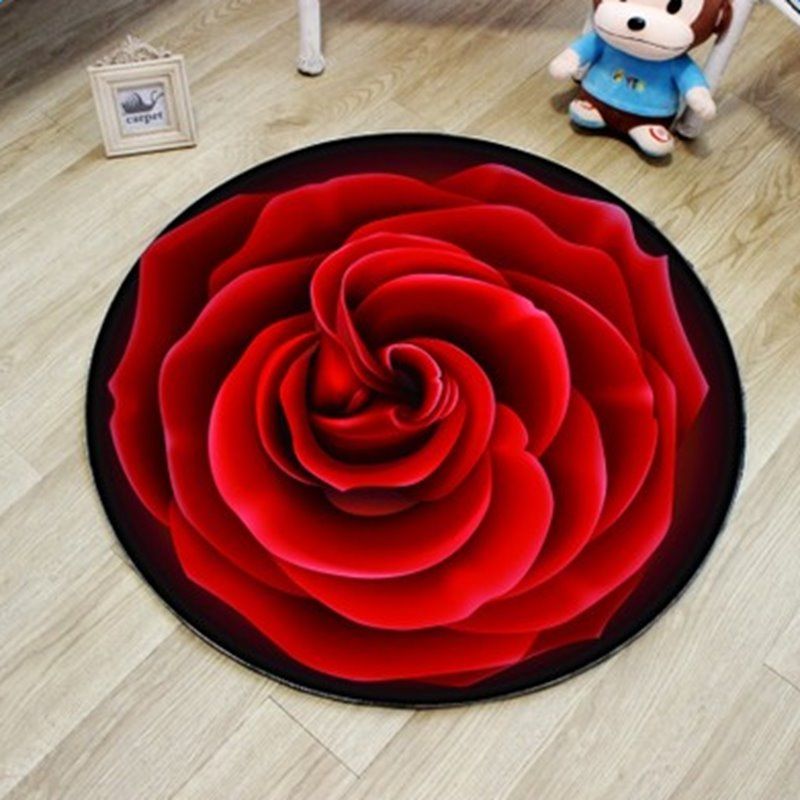 Gorgeous Round Rose Pattern Blended Washable Water Absorption Decorative Area Rug