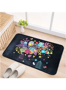 Black Rectangle Polyester Owl Standing on the Branch Pattern Water Absorption Doormat