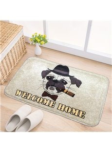 Rectangle Polyester Welcome Home Cool Dog and Cat Pattern Decorative Doormat