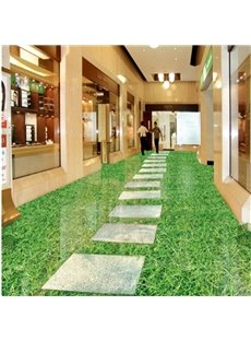 Green Realistic Design Footpath Pattern Waterproof Splicing 3D Floor Murals