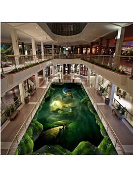 Creative Green Tornado and Fire Balloon Pattern Antiskid and Waterproof 3D Floor Murals