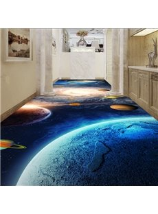Fabulous Blue Galaxy Pattern Home Corridor Decorative Waterproof 3D Floor Murals