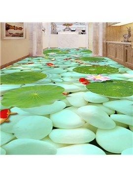 Green Cobblestones and Goldfishes in the Water Pattern Waterproof Splicing 3D Floor Murals