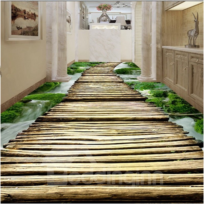 Simple country style wooden bridge pattern waterproof 3d for Country floor