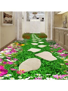 Fresh Flower Footpath Pattern Home Decorative Waterproof 3D Floor Murals