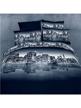 Peaceful Urban Night Scene 3D Fitted Sheet