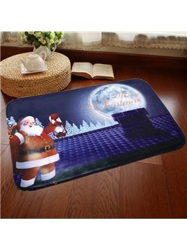 Cute Merry Christmas Santa Claus Pattern Home Decorative Washable Doormat