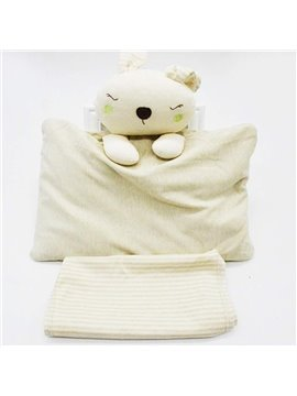 Lovely Rabbit Design Buckwheat Inner Prevent Flat Head Baby Pillow