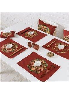 Gorgeous Red Flower Pattern 4 Pieces Heat Resistant Washable Decorative Table Placemats
