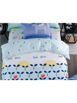 Hope Trees Pattern Kids 100% Cotton 4-Piece Duvet Cover Sets