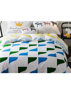 Bright Geometry Pattern Kids Cotton 4-Piece Duvet Cover Sets