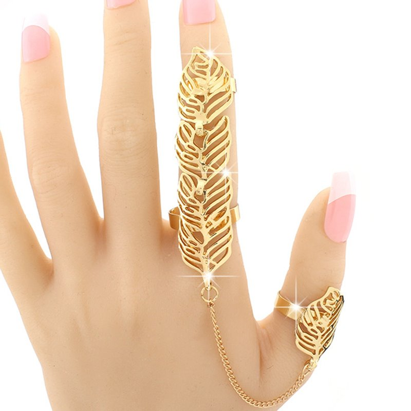 Fashion Golden Leaves Shape Hollow Design Alloy Ring