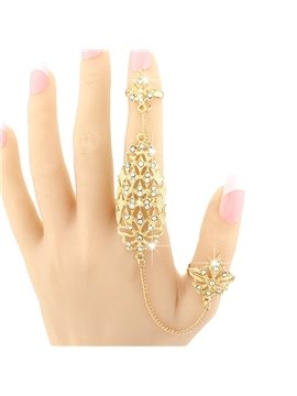 Golden Flowers Shape Hollow Design Diamante Ring