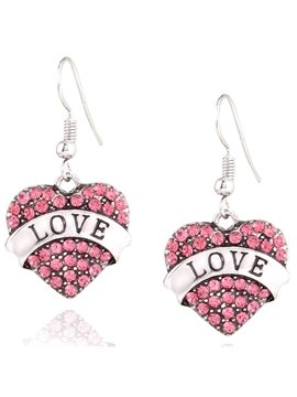 Heart Shaped with Rhinestone Inlaid Pendant Earrings