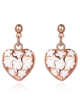 Hollow Design Flower Pattern Rose Golden Pendant Earrings