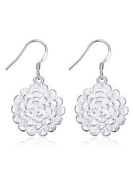 Pretty Rose Shaped Silver Pendant Earrings