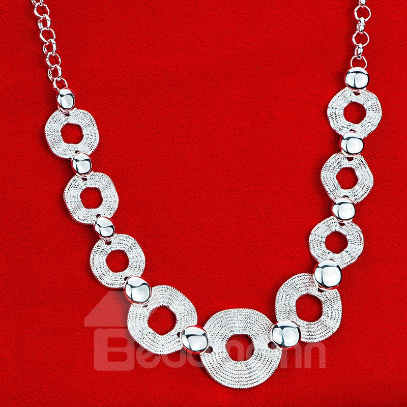 Fashion Silver Plated Hex Angular Design Pendant Necklace