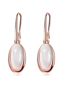 Concise Oval Artificial Stone Inlaid Alloy Pendant Earrings