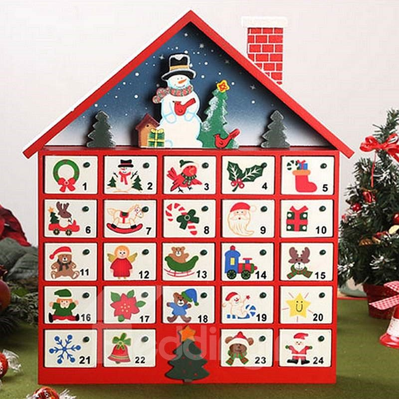 Typography Advent Calendar : Decorative snowman design wooden christmas advent calendar