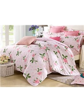 Bright Floral Pattern 4 Pieces 100% Cotton Duvet Cover Sets
