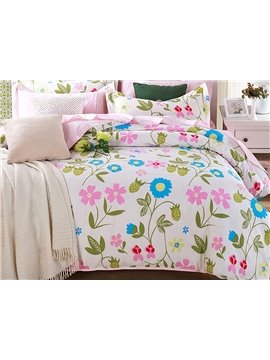 Bright Floral Pattern 4 Pieces Cotton Duvet Cover Sets
