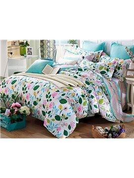 Charming Flowers Pattern 4 Pieces Cotton Duvet Cover Sets