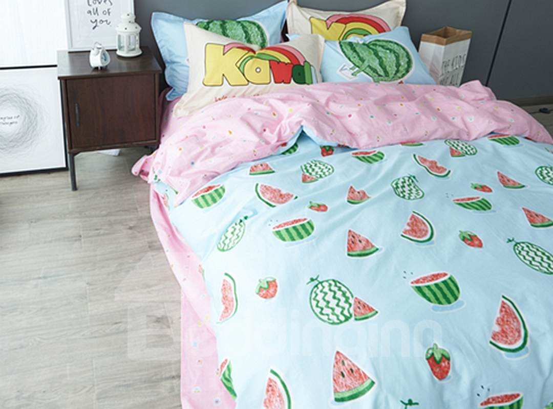 Home 187 unicorn quilt cover set return to previous page - 75 Cartoon Watermelon Pattern Pattern 4 Pieces Cotton Duvet Cover Sets