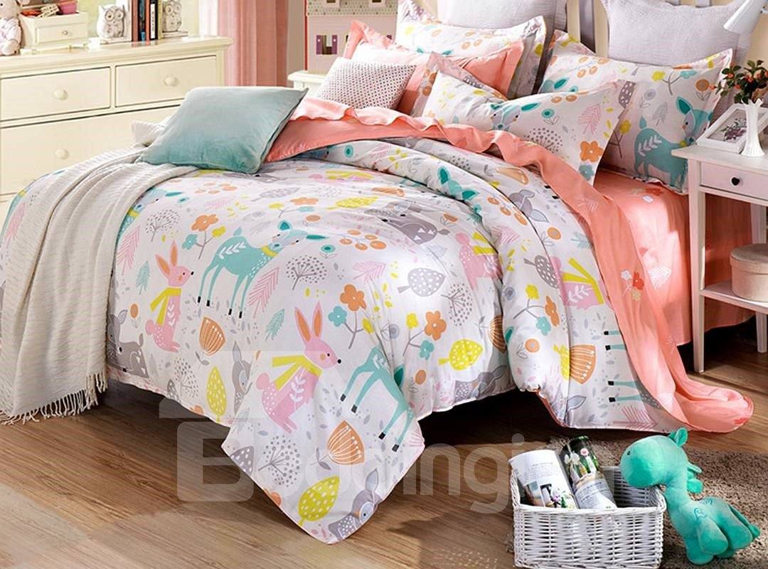 Home 187 unicorn quilt cover set return to previous page - 70 Happy Time Pattern 4 Pieces Kids Cotton Duvet Cover Sets