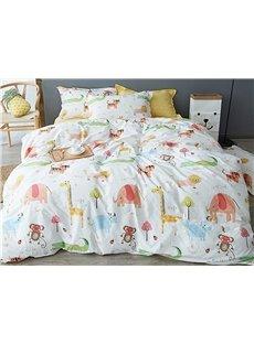 Crazy Animals Pattern 4 Pieces Kids Cotton Duvet Cover Sets