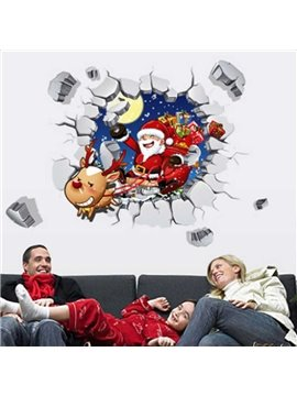 Cute Cartoon Santa Claus in Broken Hole Pattern Christmas Decoration 3D Wall Stickers