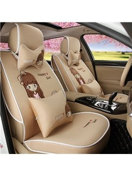 Girly Beautiful Cartoon Girl Pattern Good Permeability Flax Universal Car Seat Cover