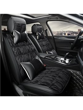 Luxury Fashion Fold Style Contrast Color Design Soft Velvet Universal Car Seat Cover