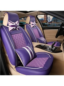 Union Jack Pattern Design Durable PVC Leather And Cool Ice Silk Material Universal Car Seat Cover
