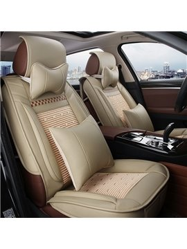 New Fashion PVC Leather Mixing Cool Ice Silk With Raised Hem Design Universal Car Seat Cover