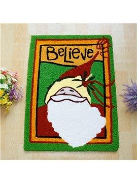 Lovely Santa Pattern Rectangular Christmas Theme Anti-Slip Acrylic Rug