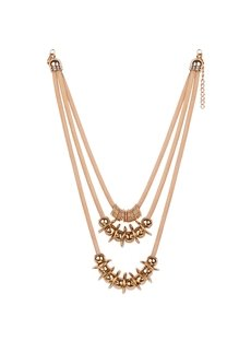 Fancy Three Layers Golden Alloy Beaded Necklace