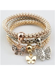 Modest Multi-Layers Shining Butterfly Design Wrap Bracelet