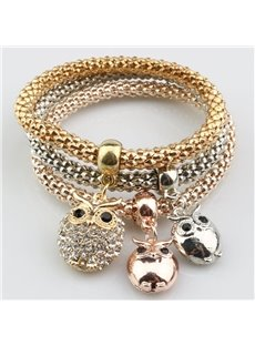 Pretty Multi-Layers Shining Owl Design Wrap Bracelet