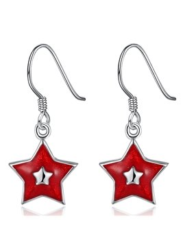 Amazing Red Five Pointed Star Design Alloy Pendant Earring
