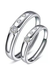 Three Diamonds Design 925 Sterling Silver Couple Ring