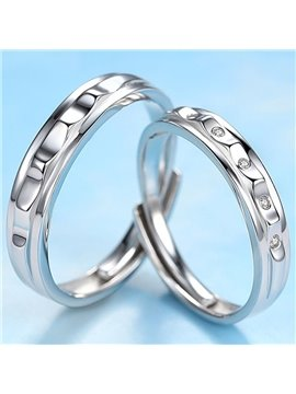 Elegant Rugged Design 925 Sterling Silver Couple Ring