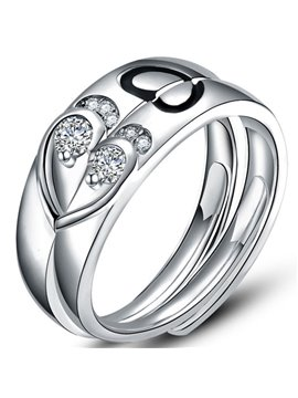 Romantic Shining Heart Design 925 Sterling Silver Couple Ring
