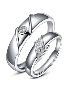Fancy Drape Design 925 Sterling Silver Couple Ring