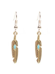 Vintage Feather Design Alloy Pendant Earring