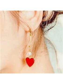 Attractive Heart Shape Design Alloy Pendant Earring