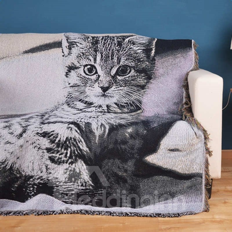 Rectangle Soft Cotton Cute Cat Print Design Washable Decorative Sofa Towel