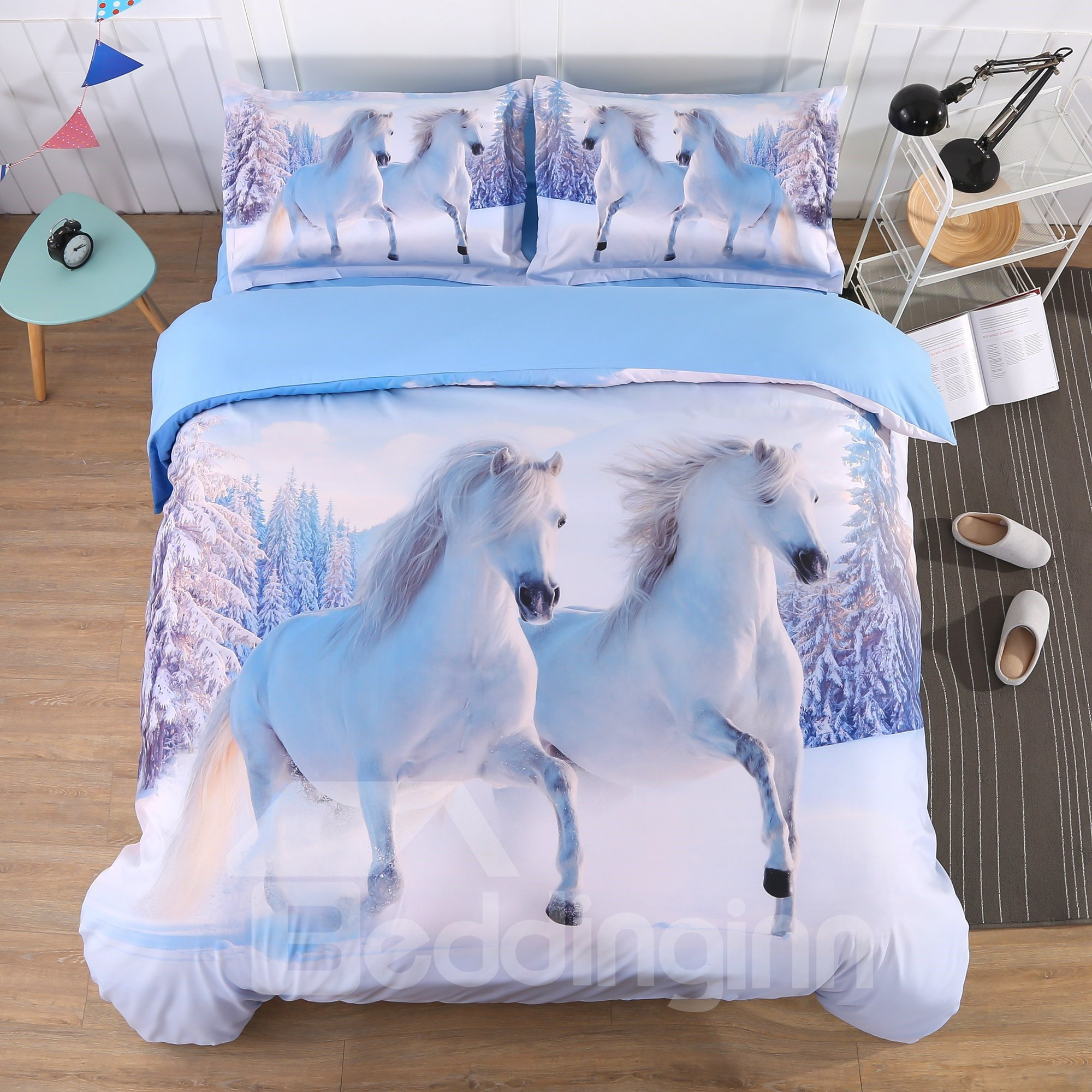White Snow Horse Digital Printing 5-Piece Comforter Sets