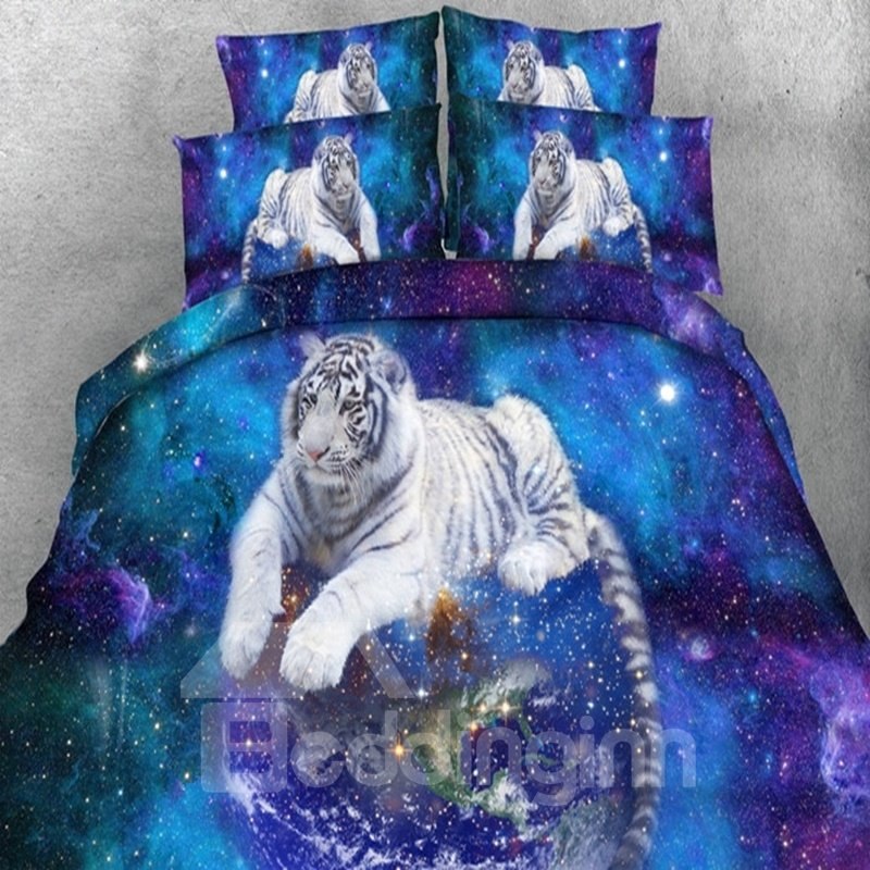 3d White Tiger Galaxy Printed 5 Piece Comforter Sets Pic